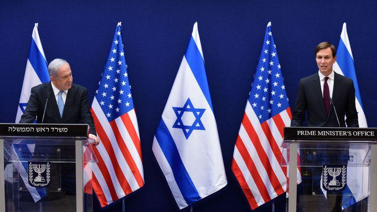 Israeli Prime Minister Benjamin Netanyahu (L) and US Presidential adviser Jared Kushner last month