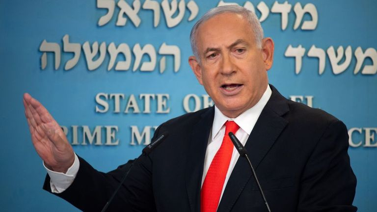 Benjamin Netanyahu announced the lockdown in a TV conference