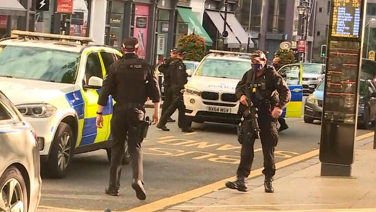 Armed police patrol after the incidents