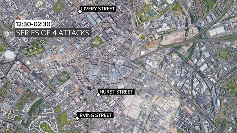 Police say the 'linked' attacks took place across three locations