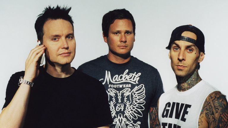 (L-R) Mark Hoppus, Tom DeLonge, Travis Barker - Blink 182 publicity photo shoot at the Sound Matrix Studio in Orange County, California 2011