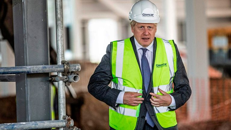 Boris Johnson visits the construction site of the new dedicated Vaccines Manufacturing Innovation Centre (VMIC) currently under construction on the Harwell science and innovations campus near Didcot