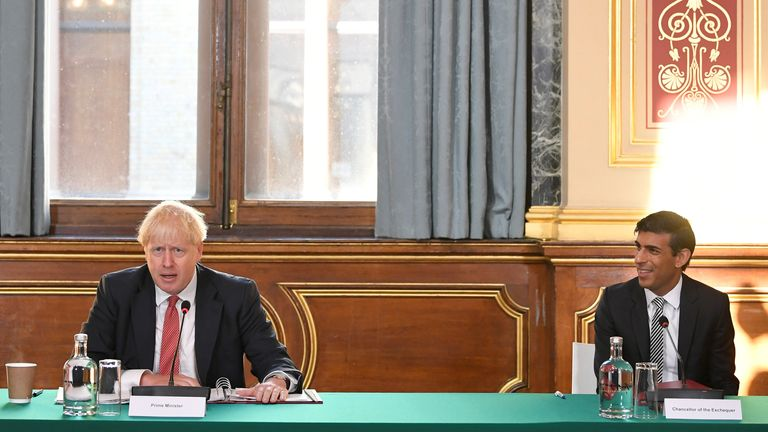 Britain's Chancellor of the Exchequer Rishi Sunak looks on as Britain's Prime Minister Boris Johnson speaks during a Cabinet meeting of senior government ministers at the Foreign and Commonwealth Office (FCO) in London, Britain, September 1, 2020. REUTERS/Toby Melville/Pool