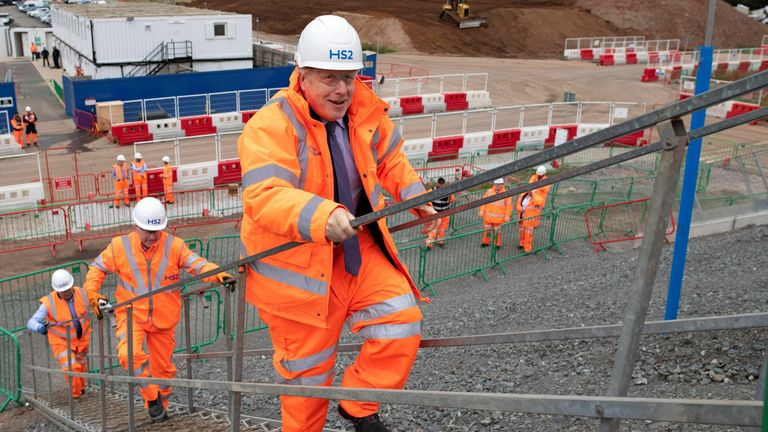 Boris Johnson visited the Solihull Interchange construction site for the HS2 project on Friday