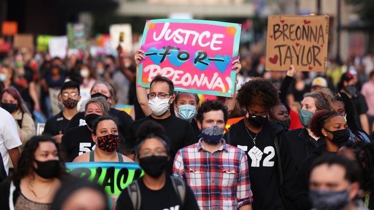 People march for the third day since the release of the grand jury report on the death of Breonna Taylor on September 26, 2020 in Louisville, Kentucky.