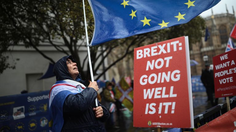 Anti-Brexit demonstrators protest in 2019