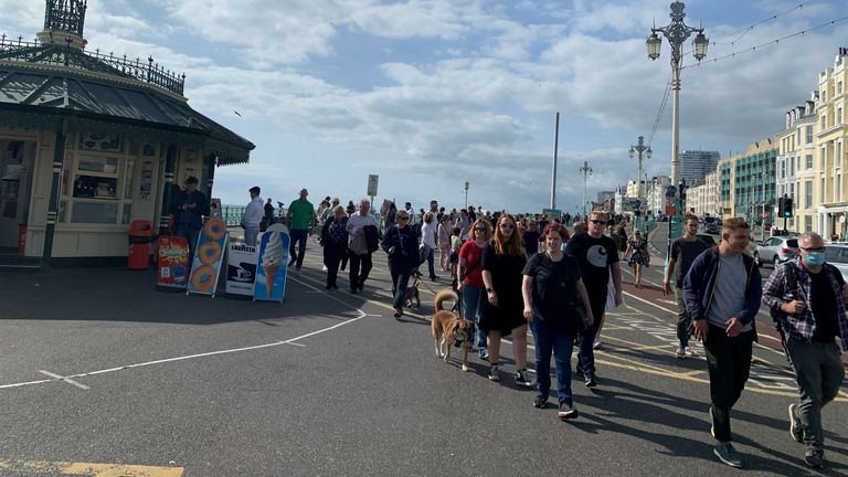 People have travelled from outside Brighton to enjoy the last Saturday before restrictions tighten