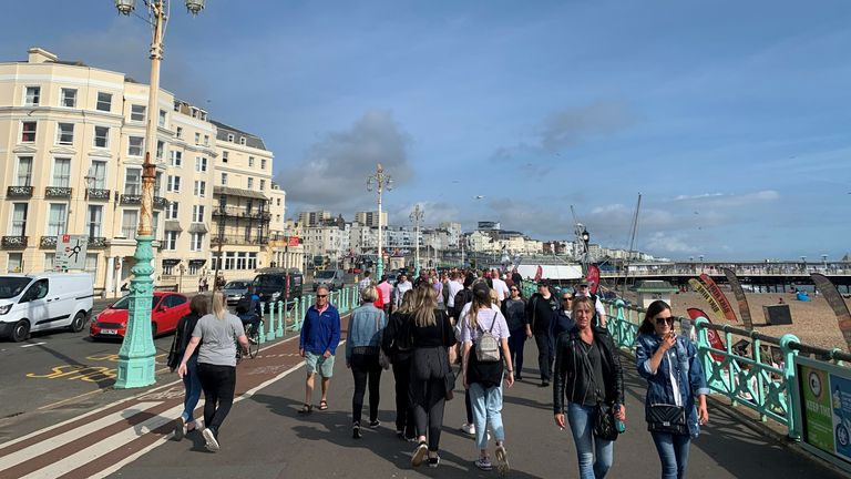 The beachfront in Brighton was busy on Saturday afternoon