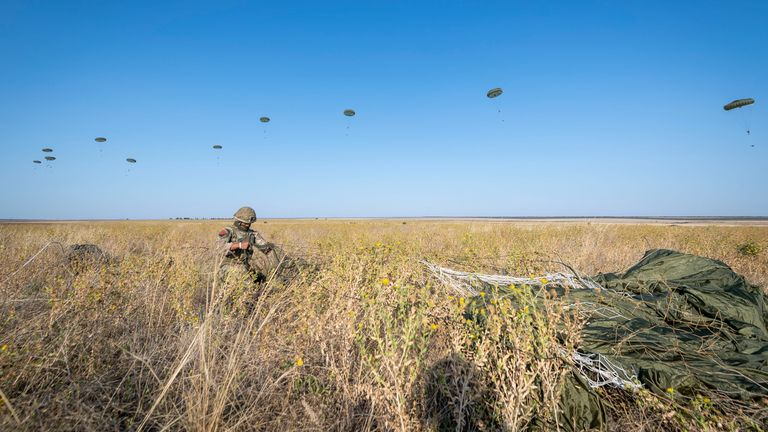 Hundreds of British paratroopers have jumped into Ukraine, alongside soldiers from the Army's elite Pathfinder unit, for an exercise close to the border with Crimea. Supplied by Ministry of Defence