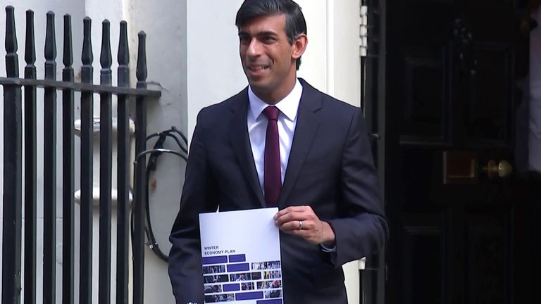 Chancellor Rishi Sunak shows off his Winter Economy Plan