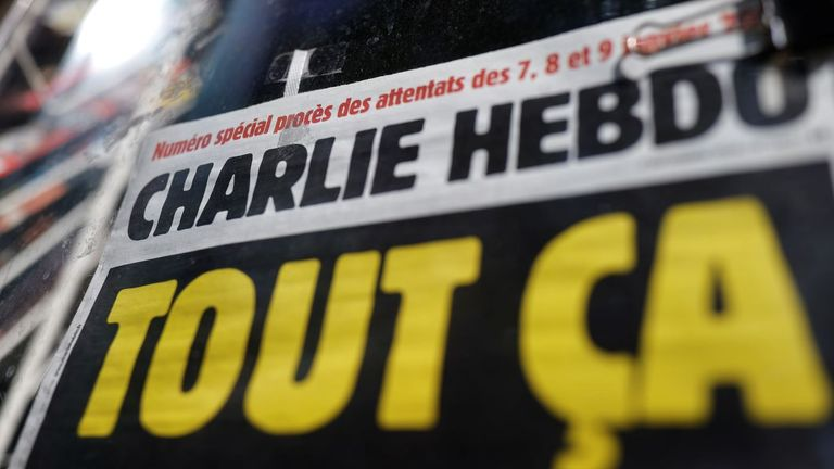The front page of Charlie Hebdo on the opening day of the trial