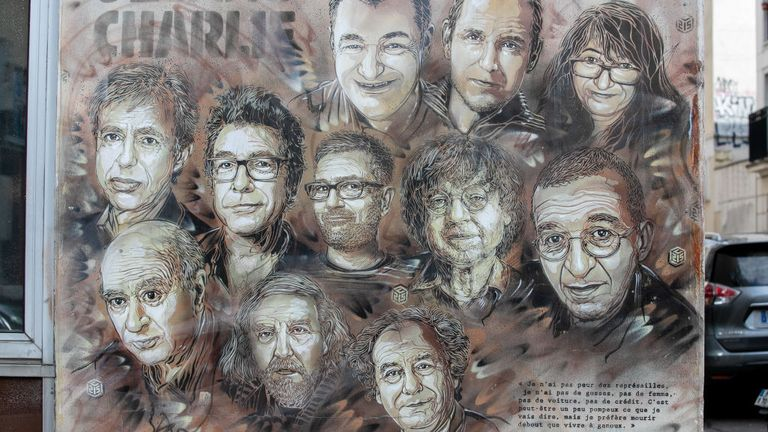 A painting in tribute to workers from the Charlie Hebdo newspaper who were killed in the terror attack