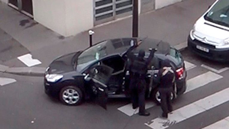 The gunmen were seen after they shot people in the Charlie Hebdo offices