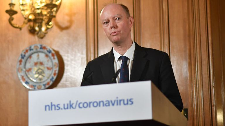 Chief Medical Officer Chris Whitty speaks duuring a press conference with Britain's Prime Minister Boris Johnson to give a daily update on the government's response to the novel coronavirus COVID-19 outbreak, inside 10 Downing Street in London on March 19, 2020. (Photo by Leon Neal / POOL / AFP) (Photo by LEON NEAL/POOL/AFP via Getty Images)