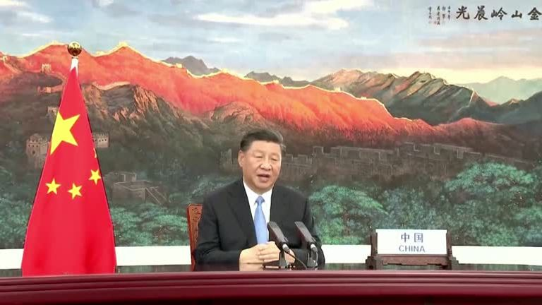 Chinese President Xi Jinping is pictured in his pre-recorded UN address