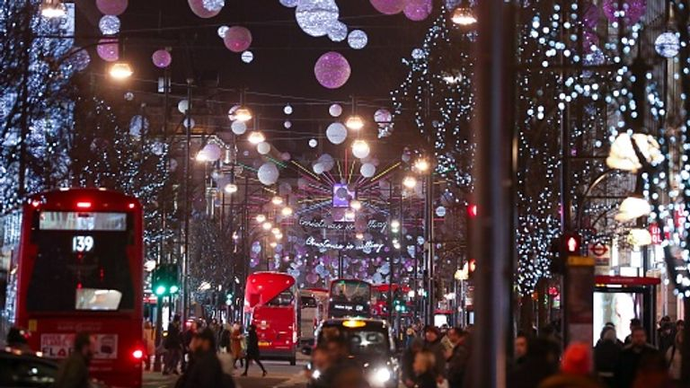 Christmas in London's Oxford Street
