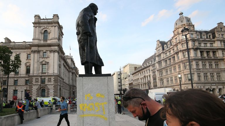 The statue of the celebrated war-time leader was again targeted