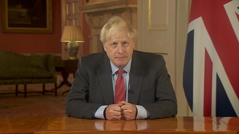Prime Minister Boris Johnson giving his address on coronavirus