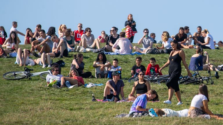 Crowds of people were out enjoying the sun on London's Primrose Hill on Sunday