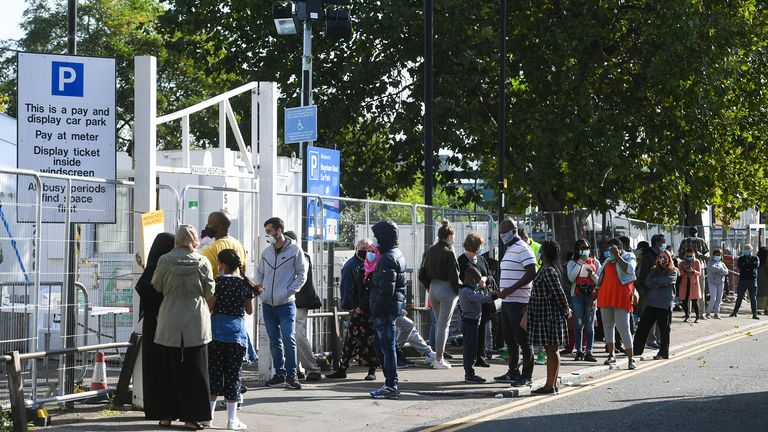 People queue for coronavirus tests in London