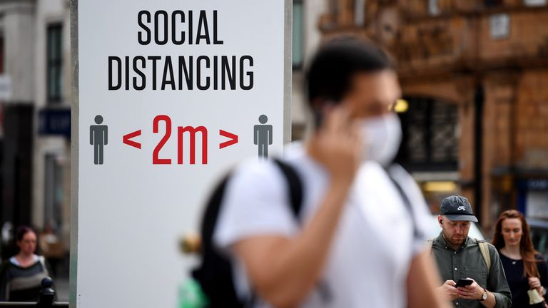 A social distancing sign in Oxford Circus, London. Pic: James Veysey/Shutterstock