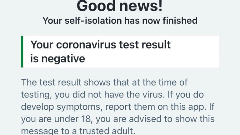 Screenshot from NHS track and trace app send if someone gets a negative COVID-19 test. Pic: Roland Manthorpe