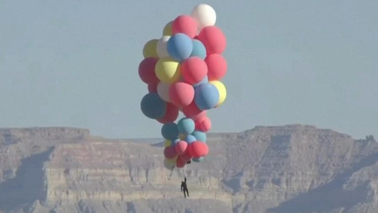 Daredevil David Blaine performed his latest stunt on Wednesday (September 2), ascending nearly 30,000 feet (9,144 meters) into the Arizona sky while hanging from a cluster of jumbo-sized balloons before parachuting safely back to earth.