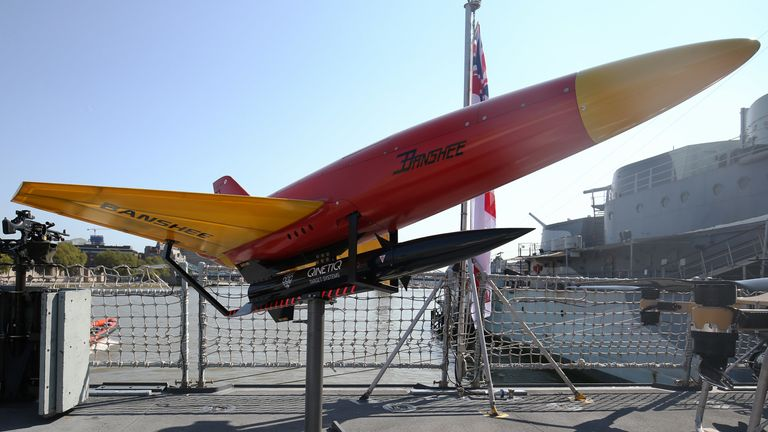 A Banshee anti-aerial target system on display aboard HMS Tamar in London