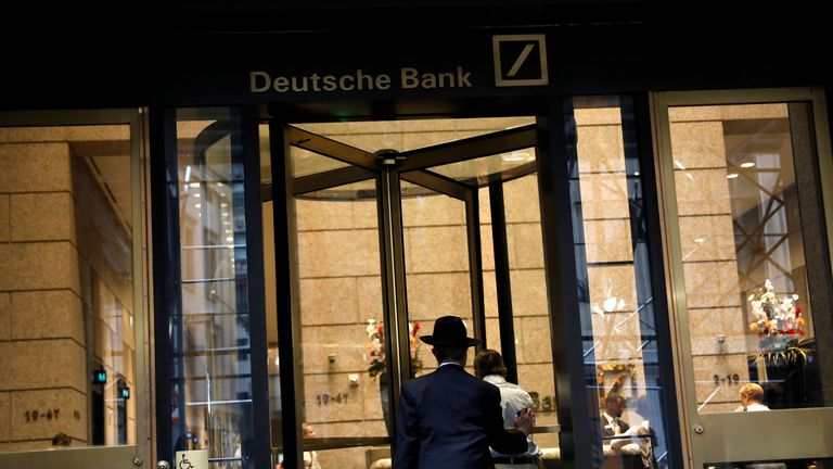 A man enters the lobby of the U.S. headquarters of Deutsche Bank in New York City, U.S., July 8, 2019. REUTERS/Andrew Kelly