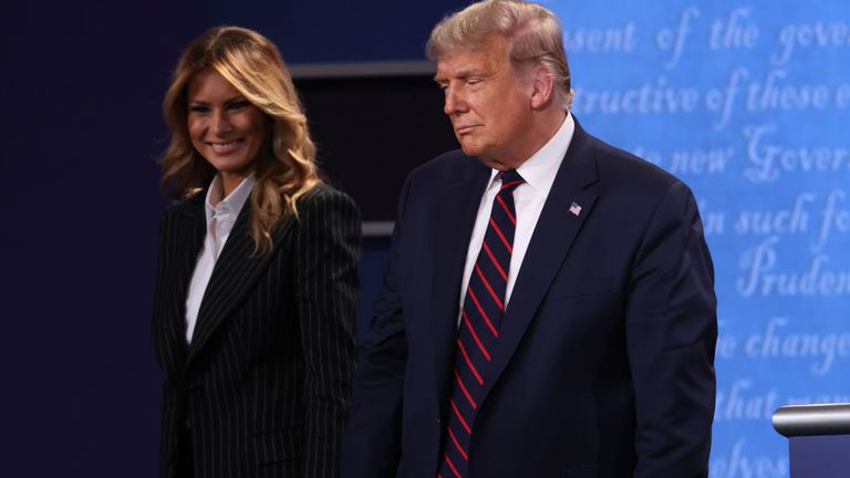 Donald Trump and first lady Melania Trump on stage