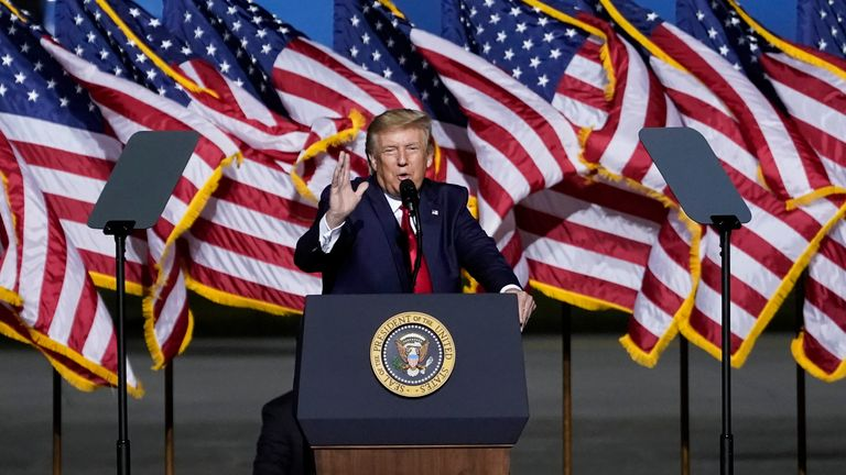 U.S. President Donald Trump speaks during a campaign rally at Newport News/Williamsburg International Airport on September 25, 2020 in Newport News, Virginia