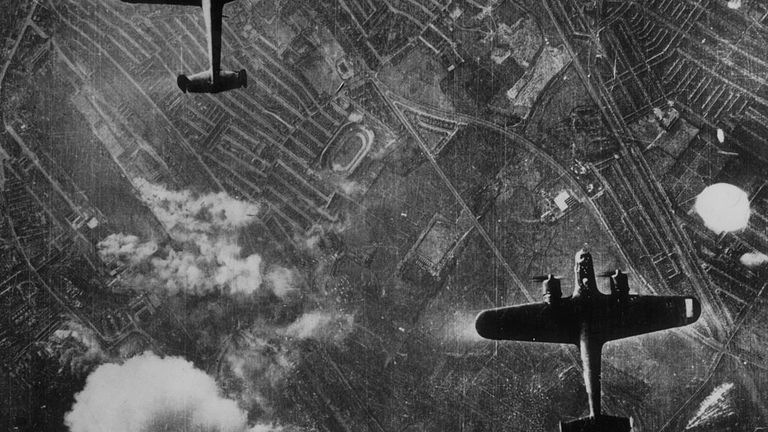 Two Luftwaffe Dornier 217 bombers flying over the Silvertown area of London's Docklands on 7th September 1940 at the beginning of the Blitz on London. Fires have started near the Beckton Gasworks. West Ham greyhound track is near the centre of the picture, which was taken from a German bomber. (Photo by Central Press/Hulton Archive/Getty Images)