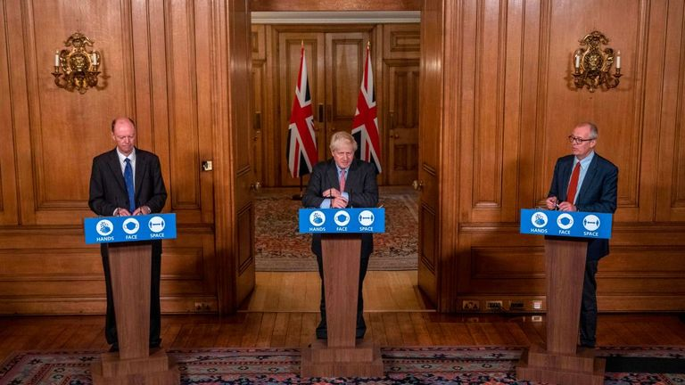 Britain's Prime Minister Boris Johnson stands alongside Britain's Chief Scientific Adviser Patrick Vallance (R) and Britain's Chief Medical Officer for England Chris Whitty (L) at a remote press conference to update the nation on the covid-19 pandemic, inside 10 Downing Street in central London on September 30, 2020, the 100th coronavirus briefing since the pandemic hit the UK. - New restrictions are being introduced as infection rates rise again, with some 16 million people now subject to some