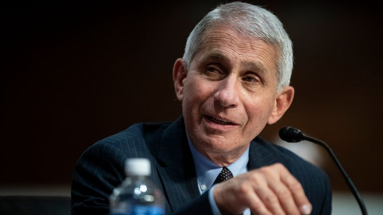 WASHINGTON, DC - JUNE 30: Dr. Anthony Fauci, director of the National Institute of Allergy and Infectious Diseases, speaks during a Senate Health, Education, Labor and Pensions Committee hearing on June 30, 2020 in Washington, DC. The committee discussed efforts to safely get back to work and school during the coronavirus pandemic. (Photo by Al Drago - Pool/Getty Images)