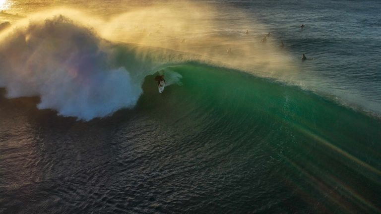 Jim Picot also picked up a commended award in the sport category for this astonishing picture of a surfer on Injidup Beach, Western Australia