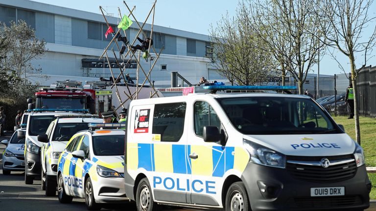 Police and fire services outside the Newsprinters printing works at Broxbourne, Hertfordshire, as protesters use bamboo lock-ons continue to block the road