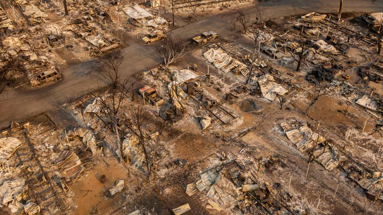 In this aerial view from a drone, a mobile home park destroyed by fire is shown on September 10, 2020 in Phoenix, Oregon