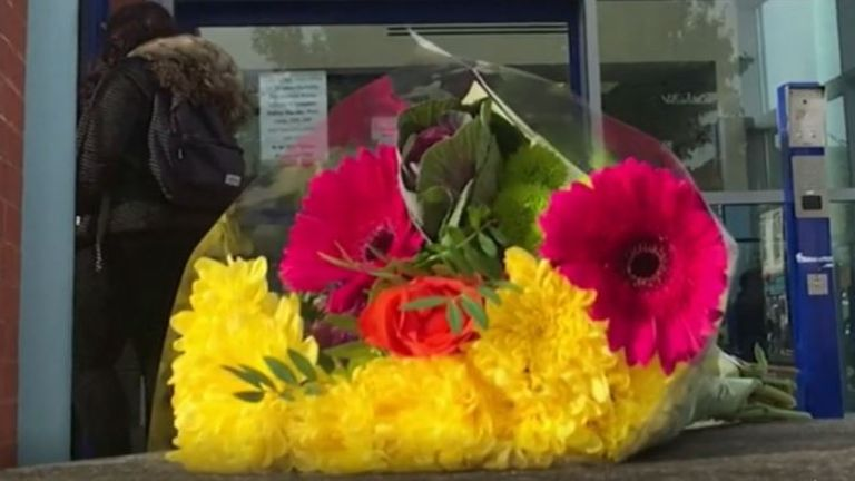 Flowers outside Croydon Custody Centre following shooting of an officer