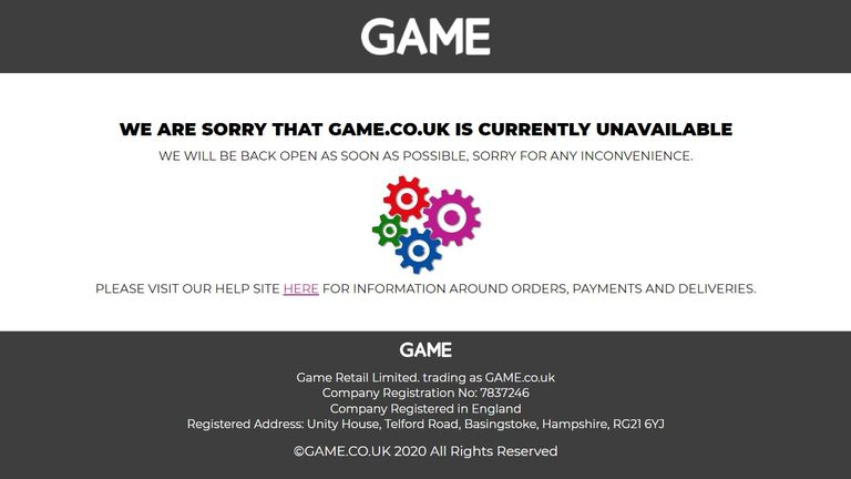 The website for Game was down
