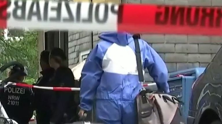Forensics teams at the scene at the discovery of dead children in Germany