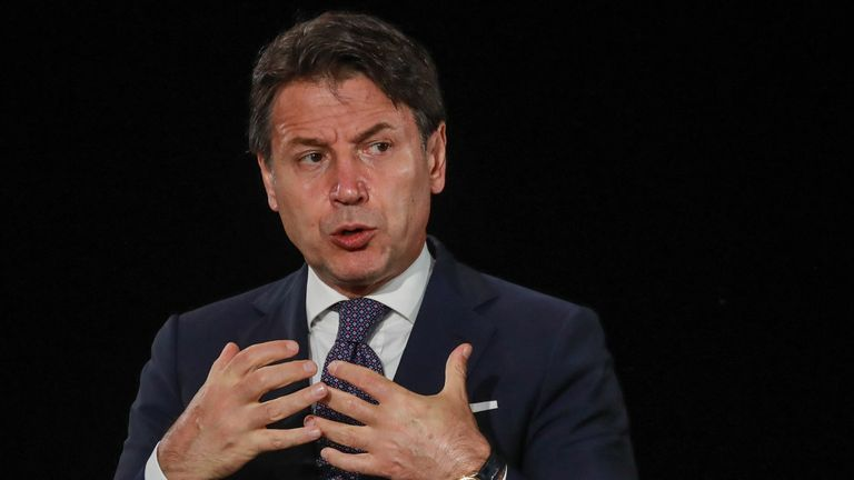 Italy's Prime Minister Giuseppe Conte speaks during a news conference
