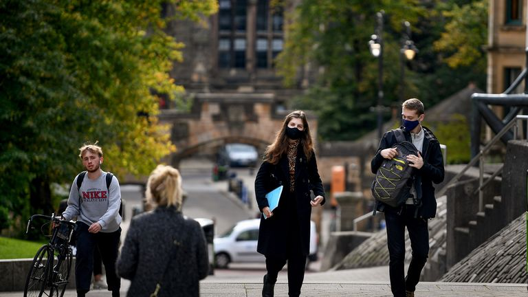 "GLASGOW, SCOTLAND - SEPTEMBER 23: Members of the public are seen at Glasgow University on September 23, 2020 in Glasgow, Scotland. Scottish First Minister Nicola Sturgeon confirmed there has been a ""significant"" outbreak at the school. There have been 224 new cases recorded in the Greater Glasgow and Clyde area in the past 24 hours. (Photo by Jeff J Mitchell/Getty Images)"