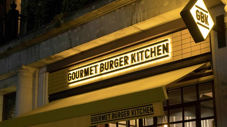 A Gourmet Burger Kitchen restaurant on Berner's Street, Central London 9/11/2018