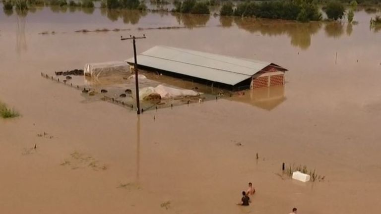 Large areas of Karditsa in Greece are flooded after cyclone hits