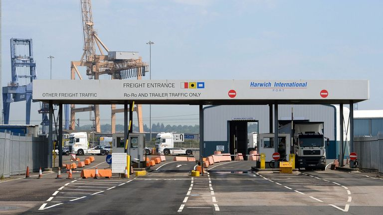 Border Force searched the van as it arrived at Harwich port in Essex