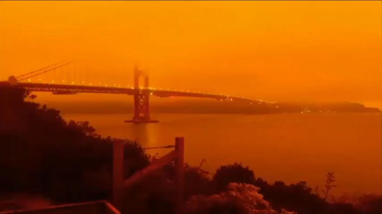 San Francisco residents awoke to hazy skies on the morning of September 9, as wildfires burning in the state cast an orange hue.