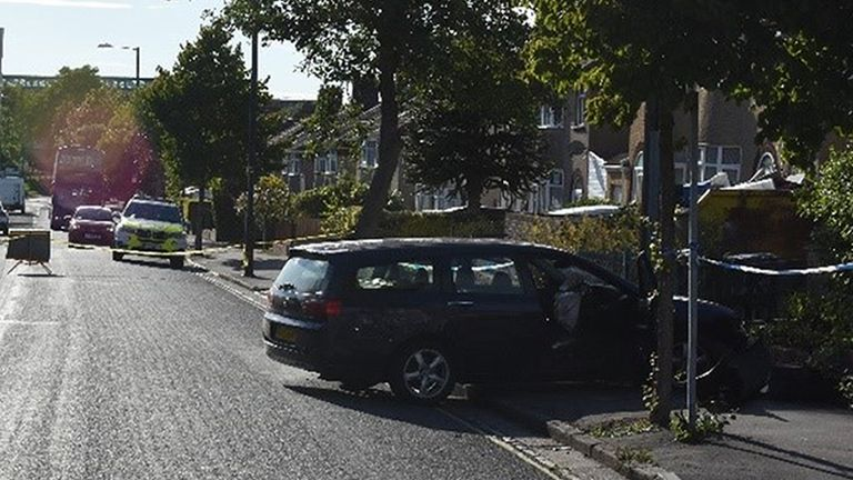 The dark blue Honda Accord after it hit an NHS worker in Monks Park Avenue, Horfield, Bristol in July