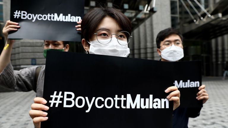 South Korean supporters of Hong Kong protesters participate call for a boycott of Mulan