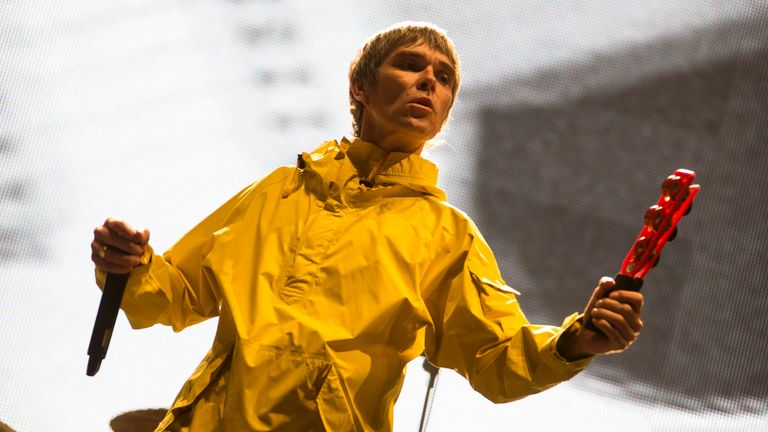 Ian Brown from The Stone Roses headlines the main stage during day 2 of the Isle of Wight Festival at Seaclose Park on June 14, 2013 in Newport, Isle of Wight