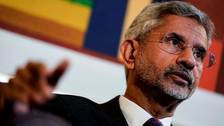 India's Minister of Foreign Affairs Subrahmanyam Jaishankar answers questions during an interview in Brussels on February 17, 2020. (Photo by Kenzo TRIBOUILLARD / AFP) (Photo by KENZO TRIBOUILLARD/AFP via Getty Images)